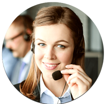 Woman smiling wearing headset