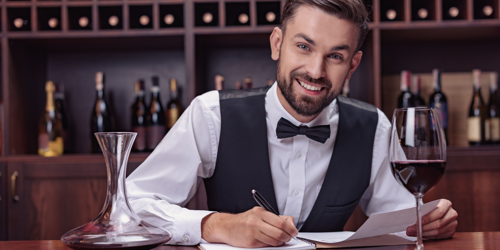 Bartender with pen