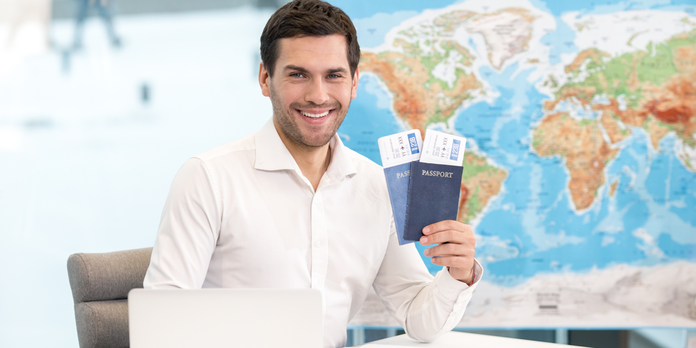 Travel agent with passports
